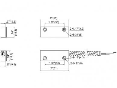 Apsaugos signalizacijos magnetokontaktinis jutiklis MET-200AR